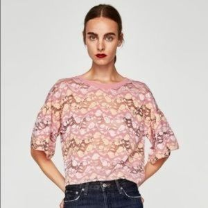 ZARA W/B Pink Floral Lace Cropped Top Small